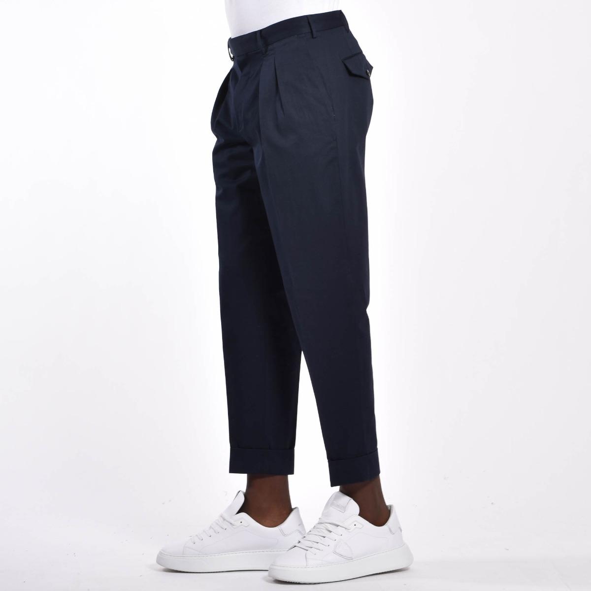 Pantalone carrot fit e pences - Blu