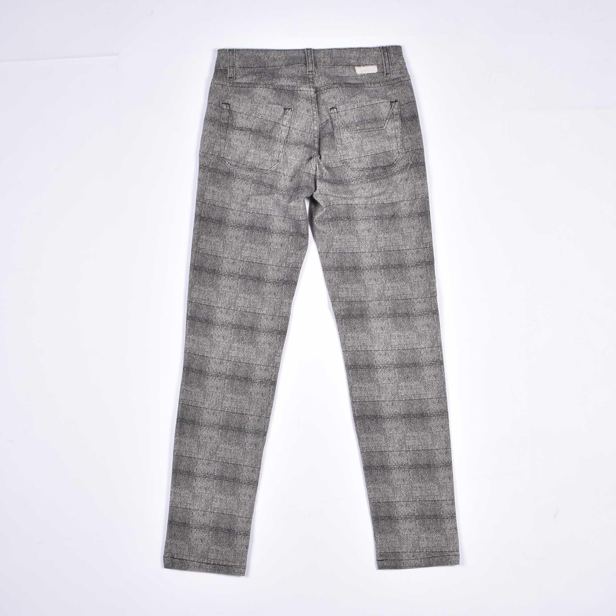 Pantalone check con toppa - Grigio