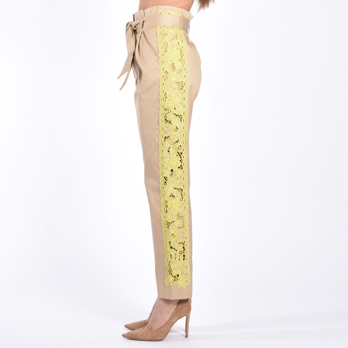 Pantalone inserto fluo- Sabbia