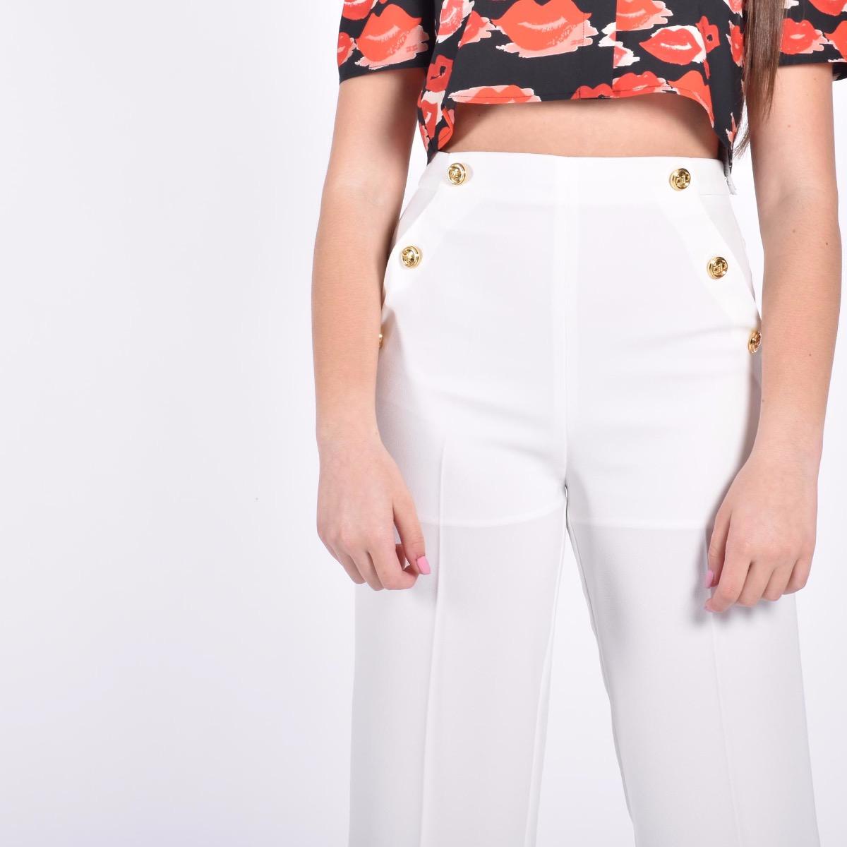 Pantalone con bottoni logati - Avorio