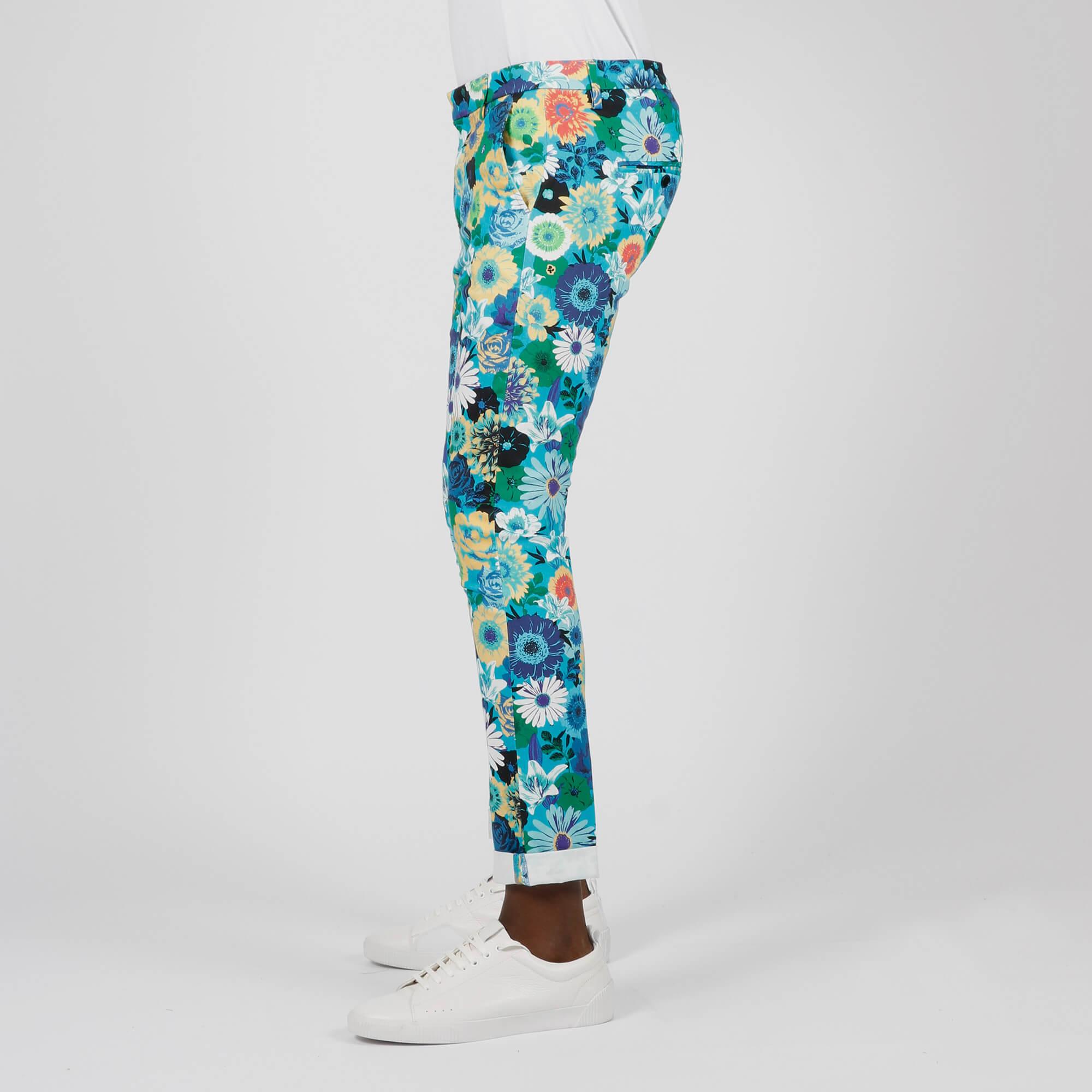 Pantalone gaubert fiori - Turchese