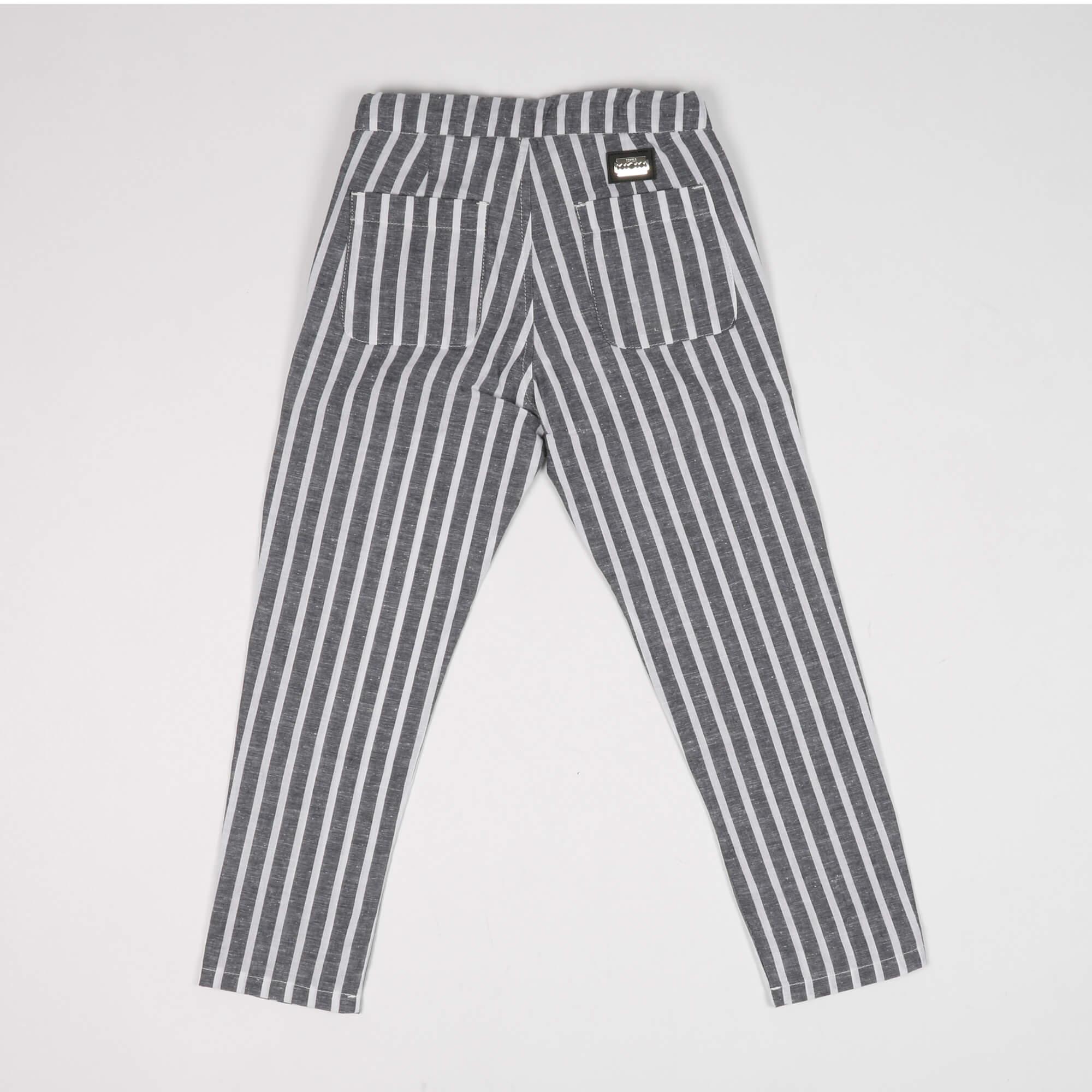 Pantalone misto lino fantasia righe- Grigio