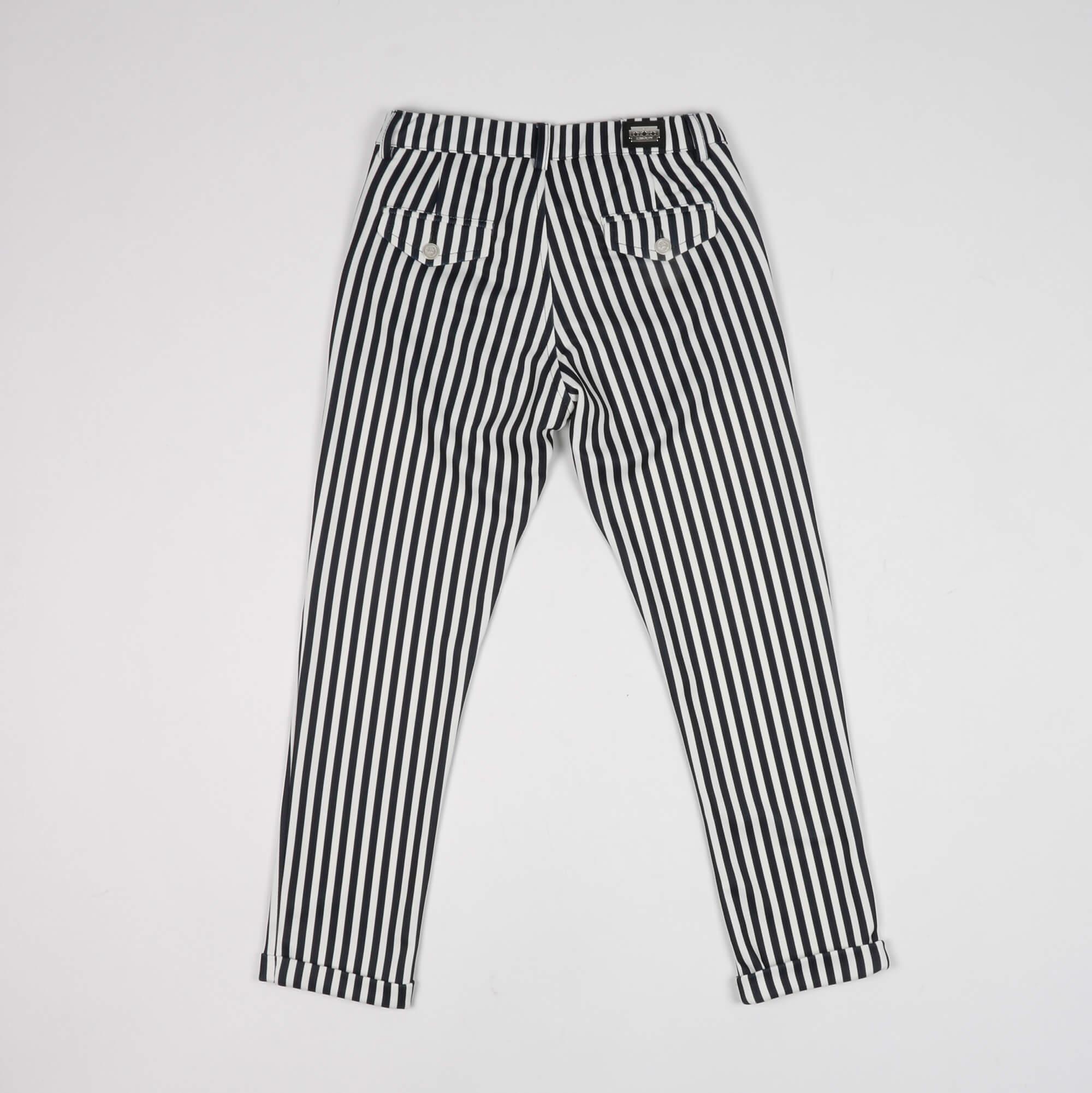 Pantalone fantasia righe- Bianco/ Blu