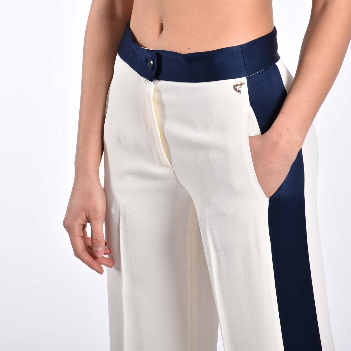 Pantalone fascia raso indaco - Bianco neve