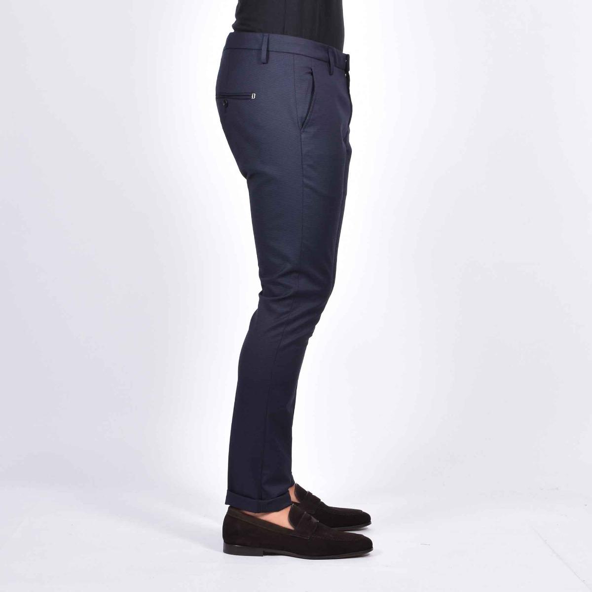 Pantalone gaubert micro pied de poule - Blu/nero