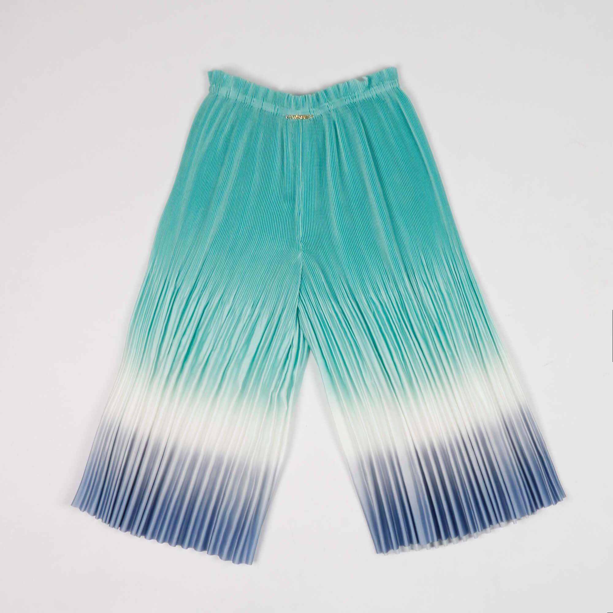 Pantalone in plissè sfumato - Celeste