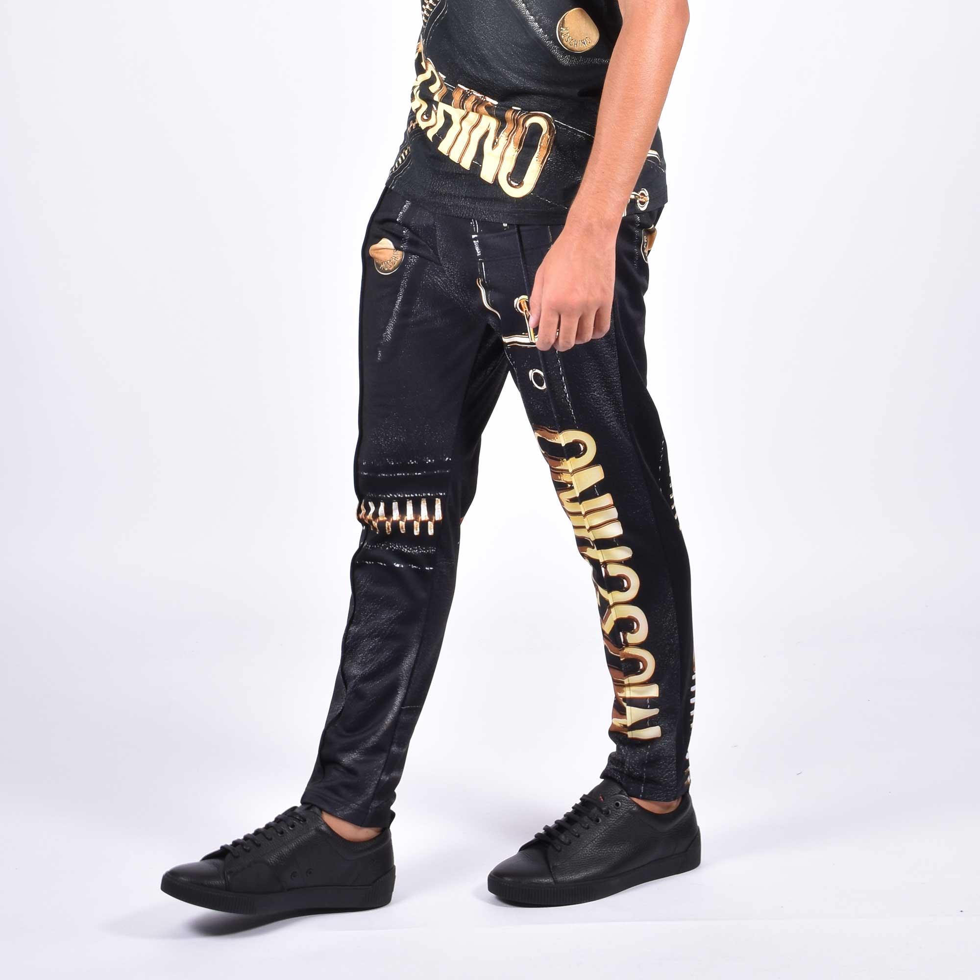 Pantalone stampa fibbia logata - Nero