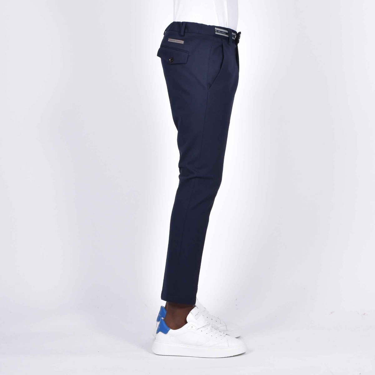 Pantalone in maglia logo vita- Blu