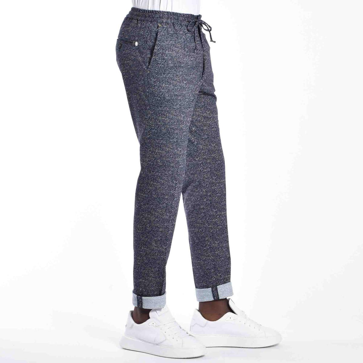 Pantalone micro motivo - Blu