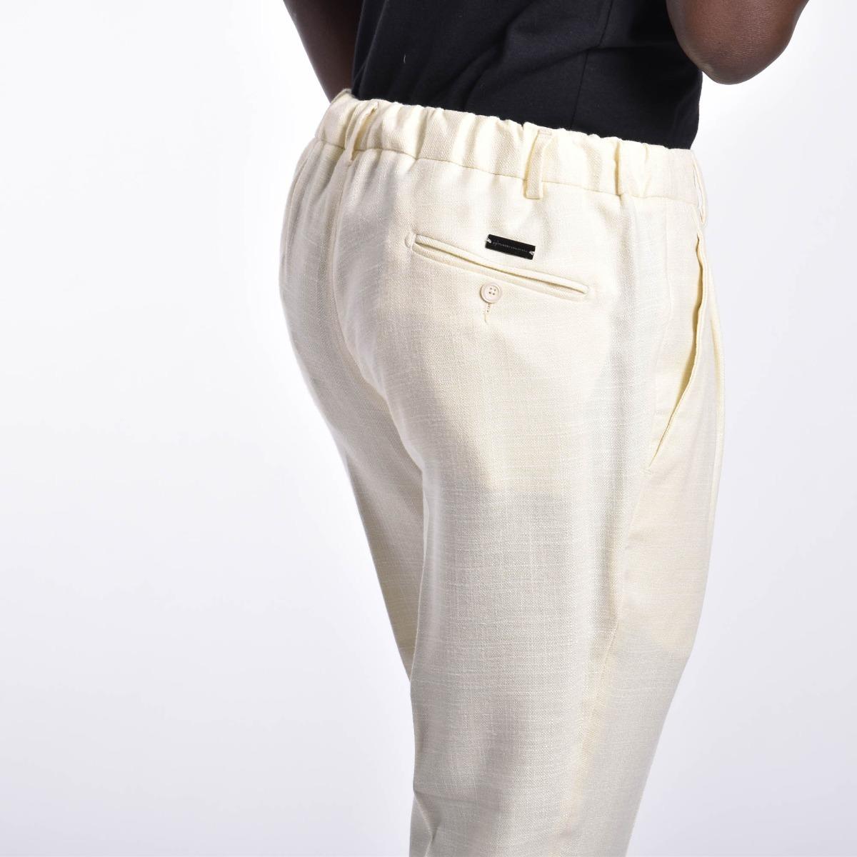 Pantalone misto lino - Panna