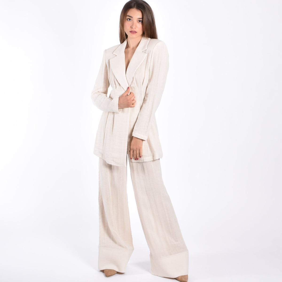 Pantalone effetto lino- Paglia
