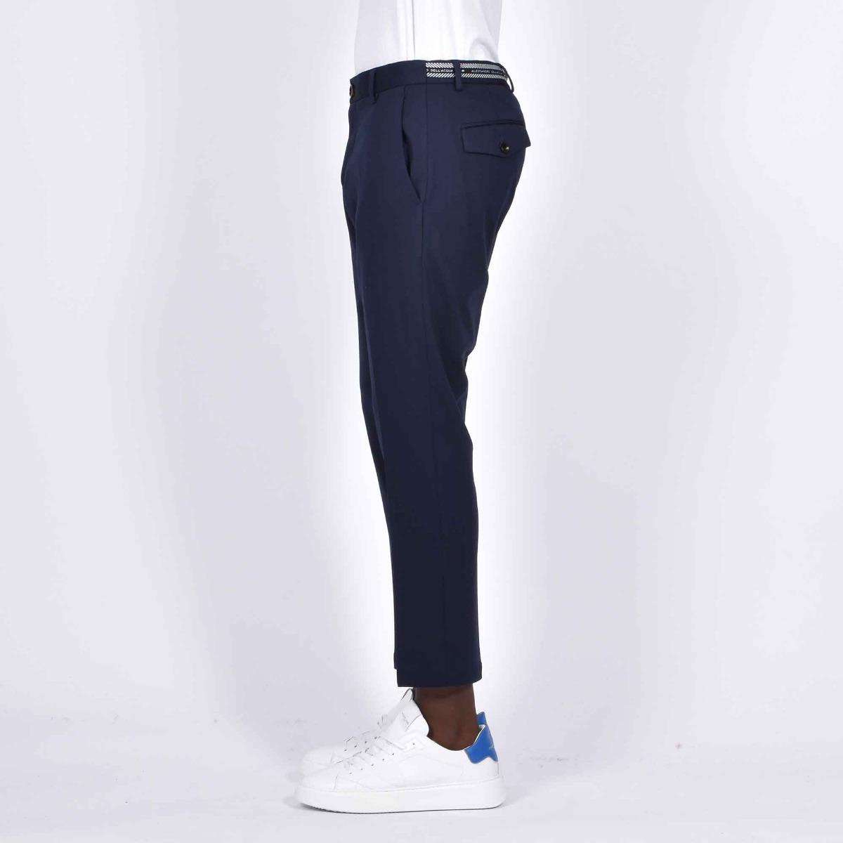 Pantalone punto milano fascia logo - Blu