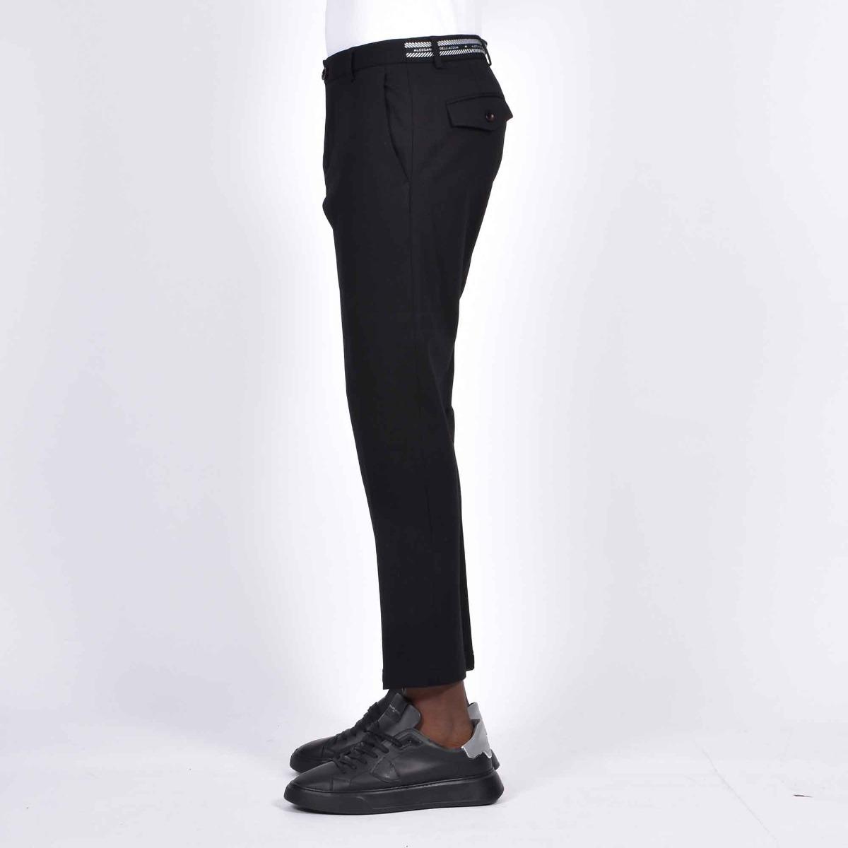 Pantalone punto milano fascia logo - Nero