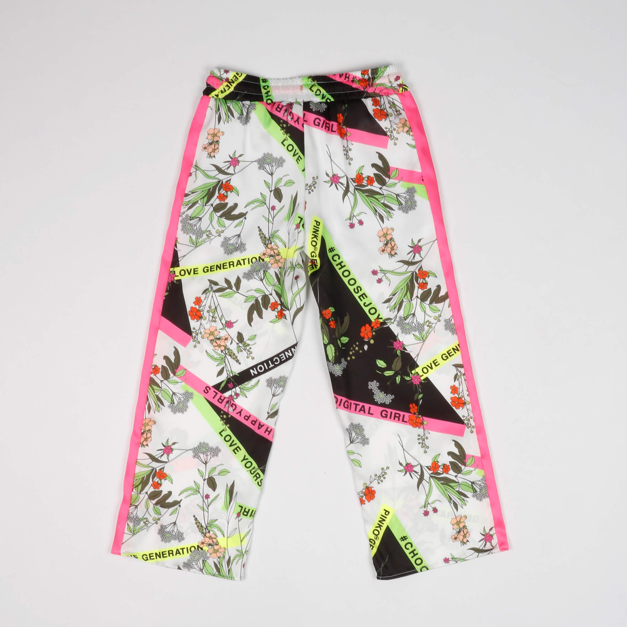 Pantalone flori e logo- Bianco