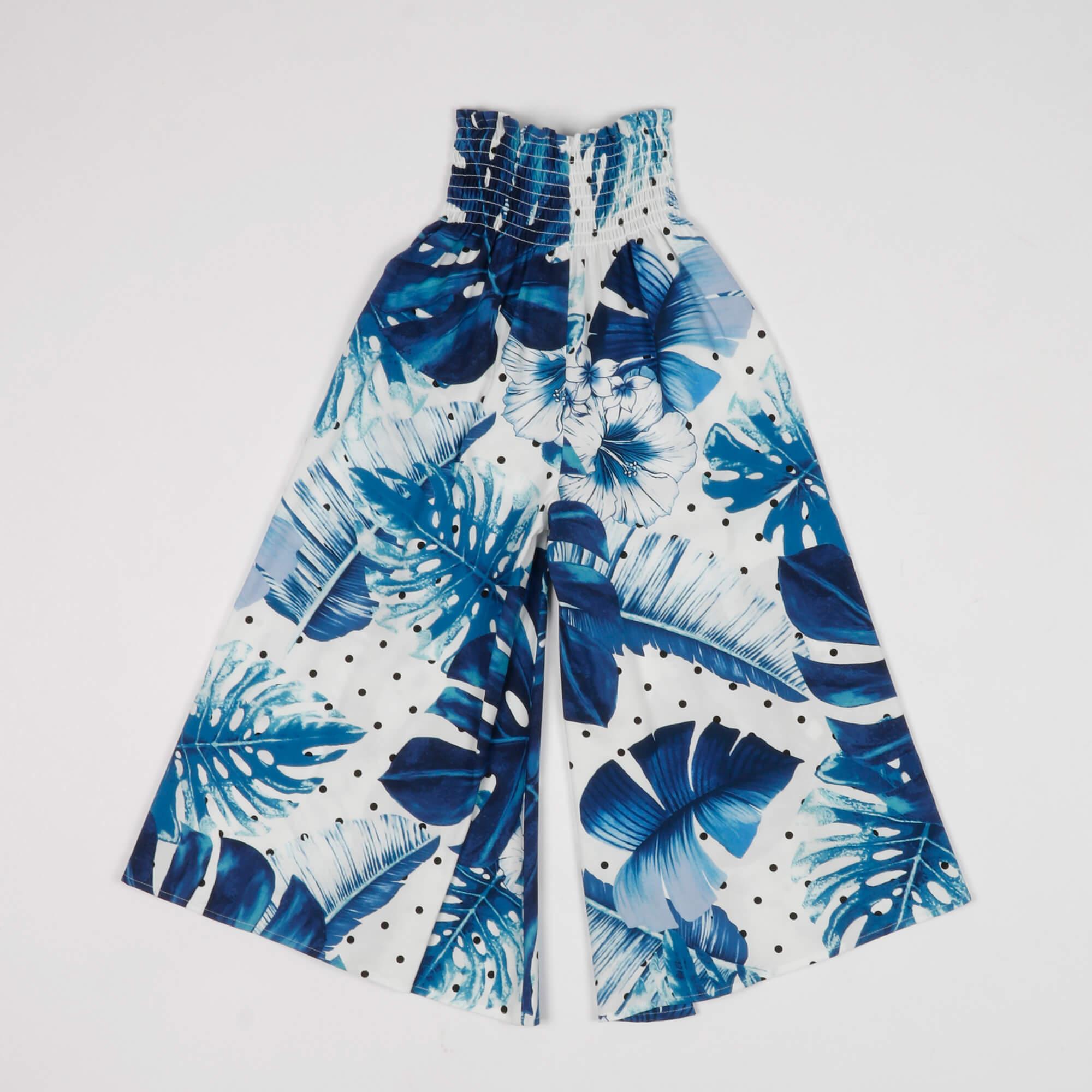 Pantalone stampa tropical- Bianco