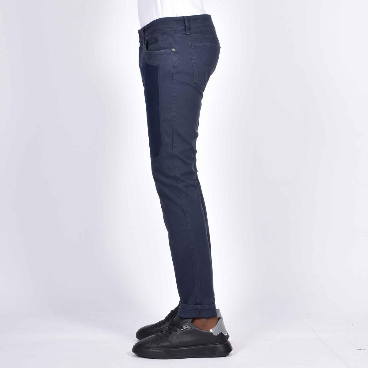 Pantalone 5 tasche e toppe - Blu