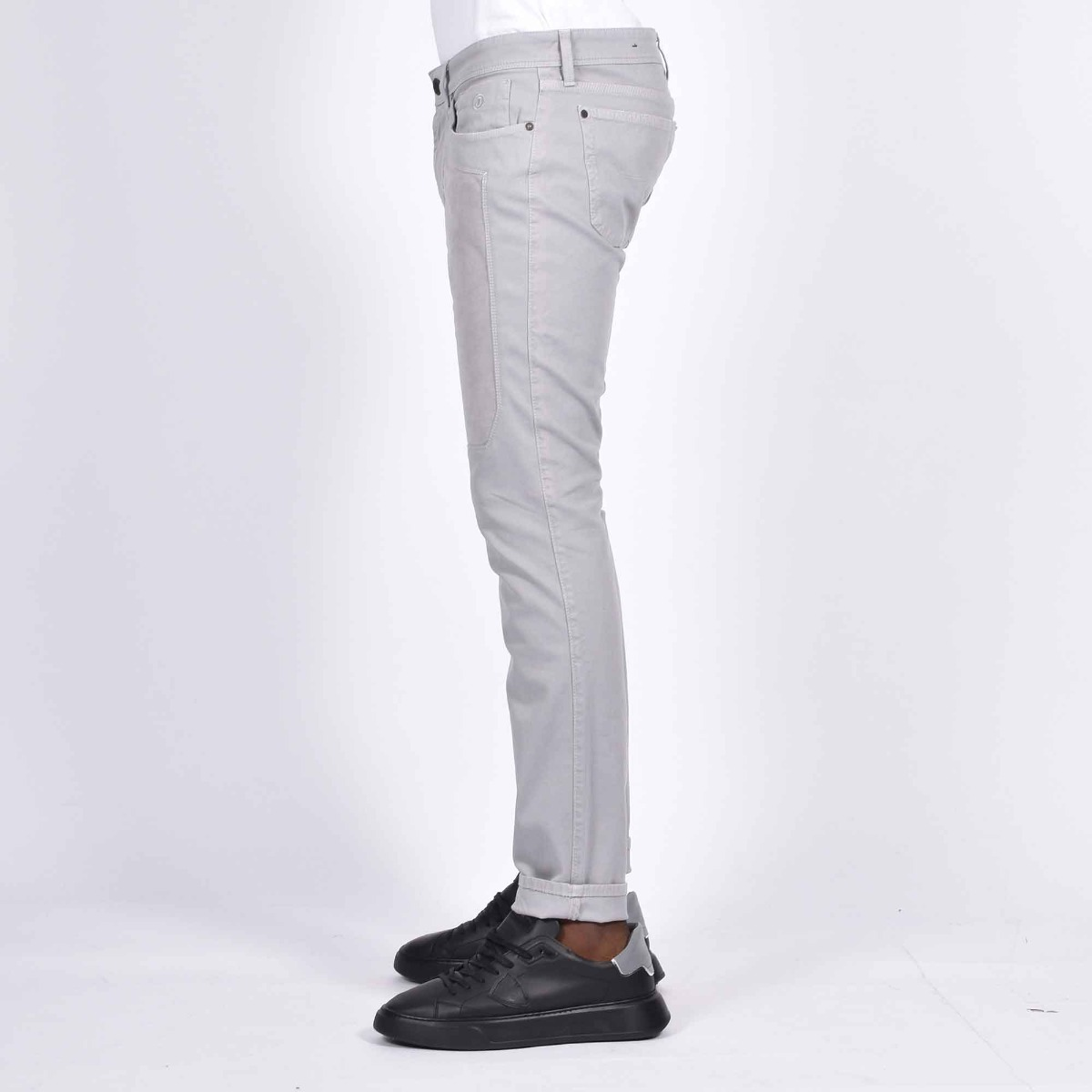 Pantalone 5 tasche e toppe - Grigio