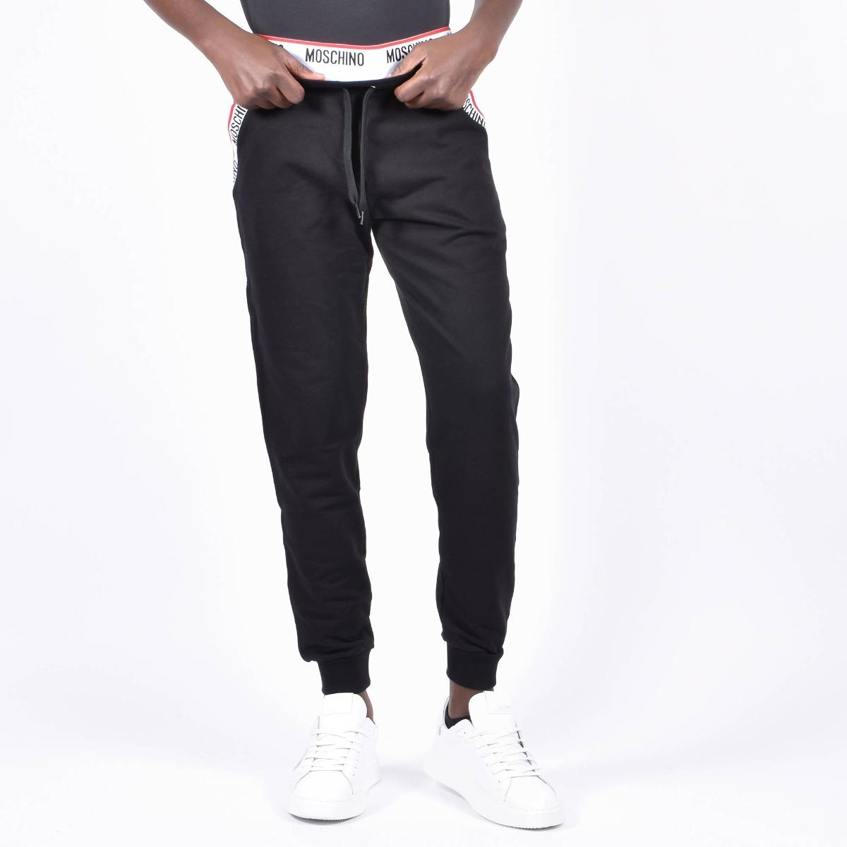 Pantalone tuta elastico logo- Nero