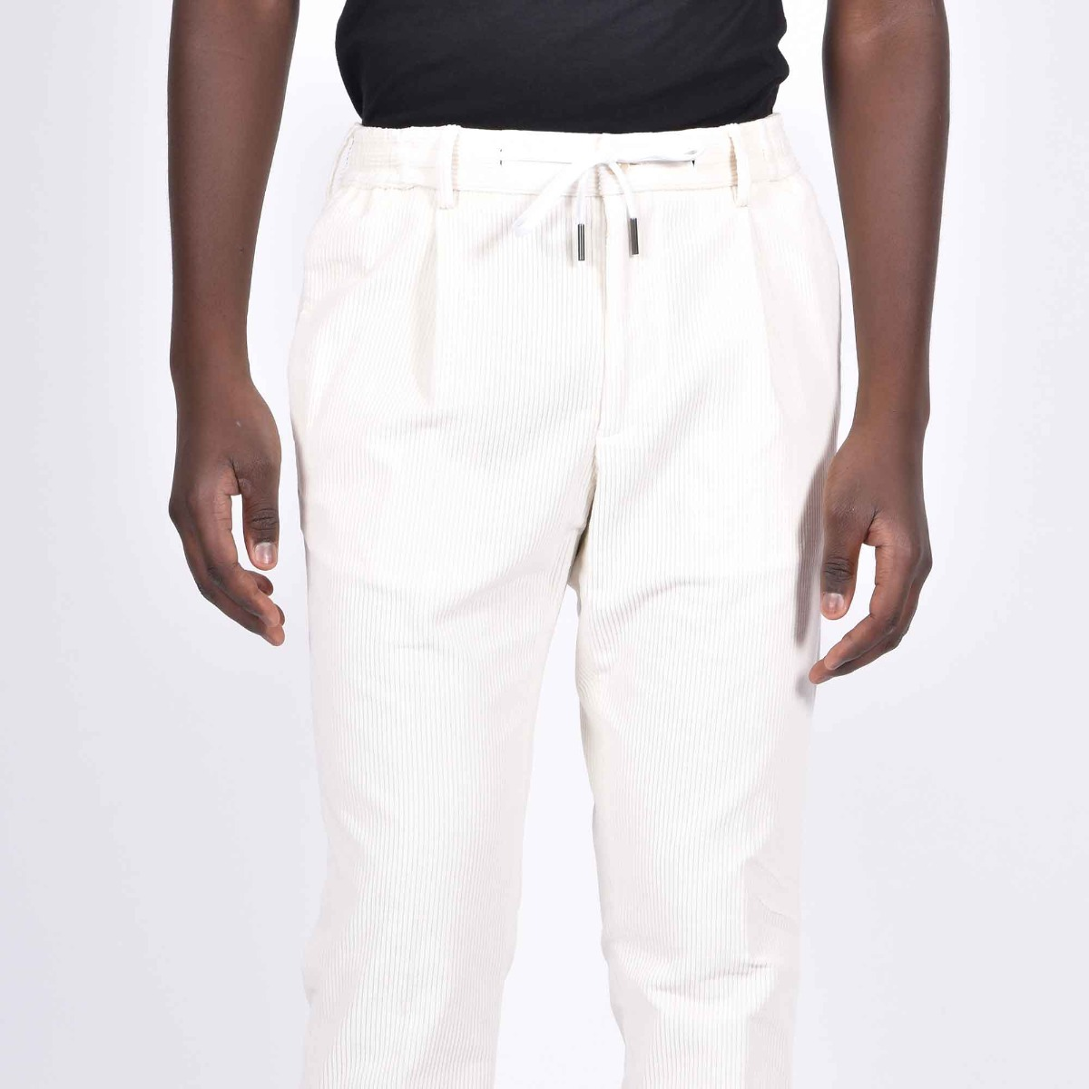 Pantalone velluto costine - Panna