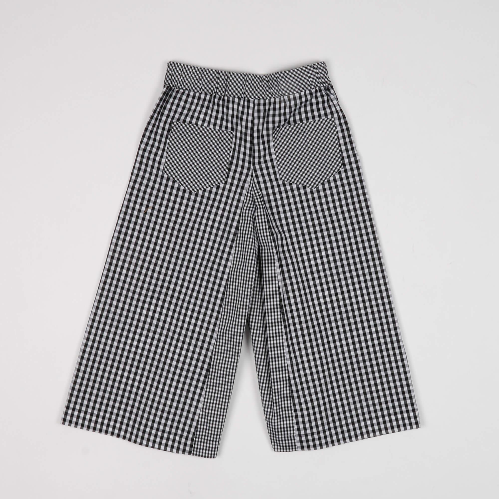 Pantalone cropped in vichy - Bianco/ Nero