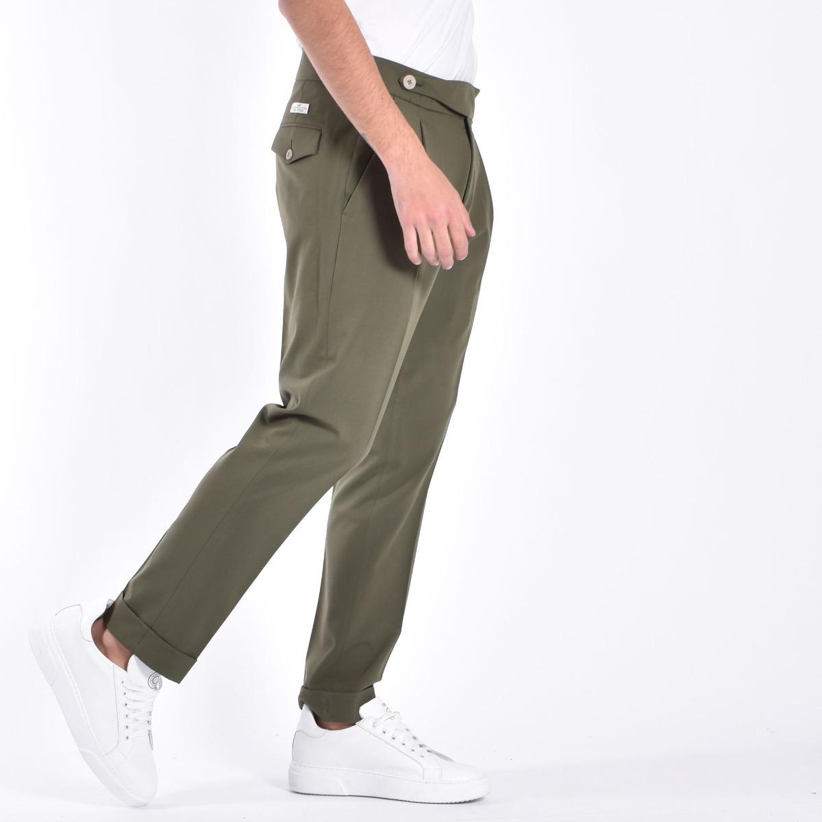 Pantaloni fascia vita e bottoni - Verde