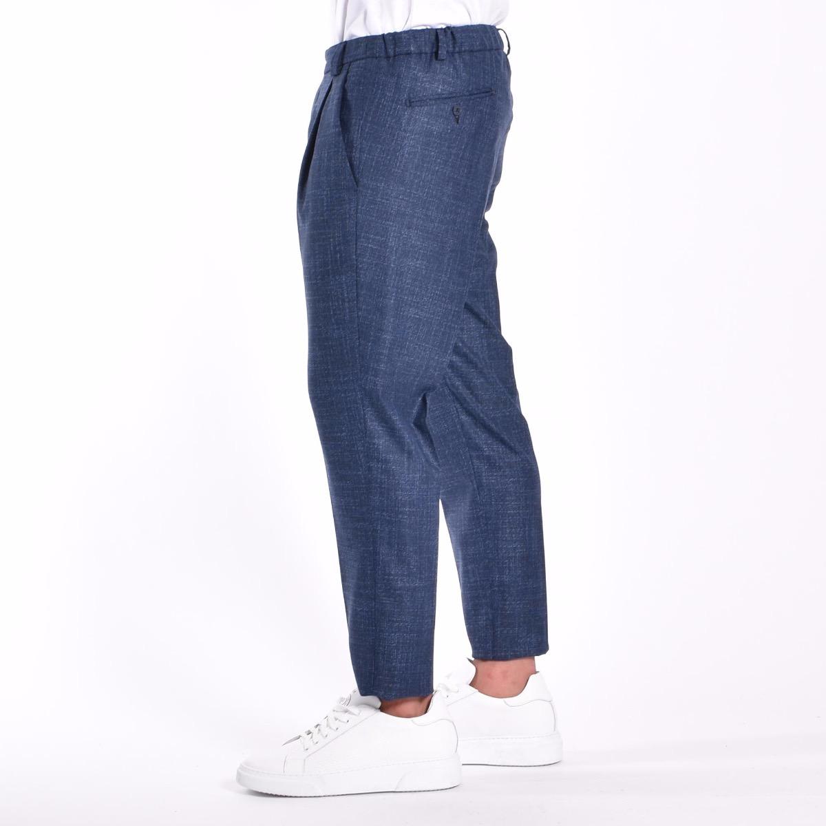 Pantalone misto lino - Blu grigio