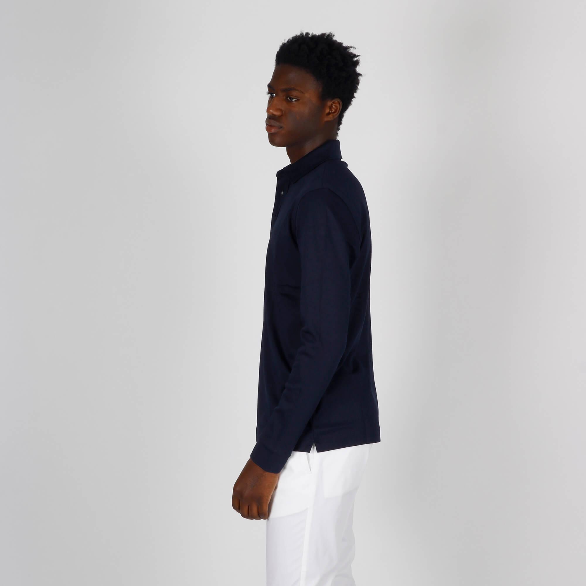 Polo cotone intrecciato - Blu scuro