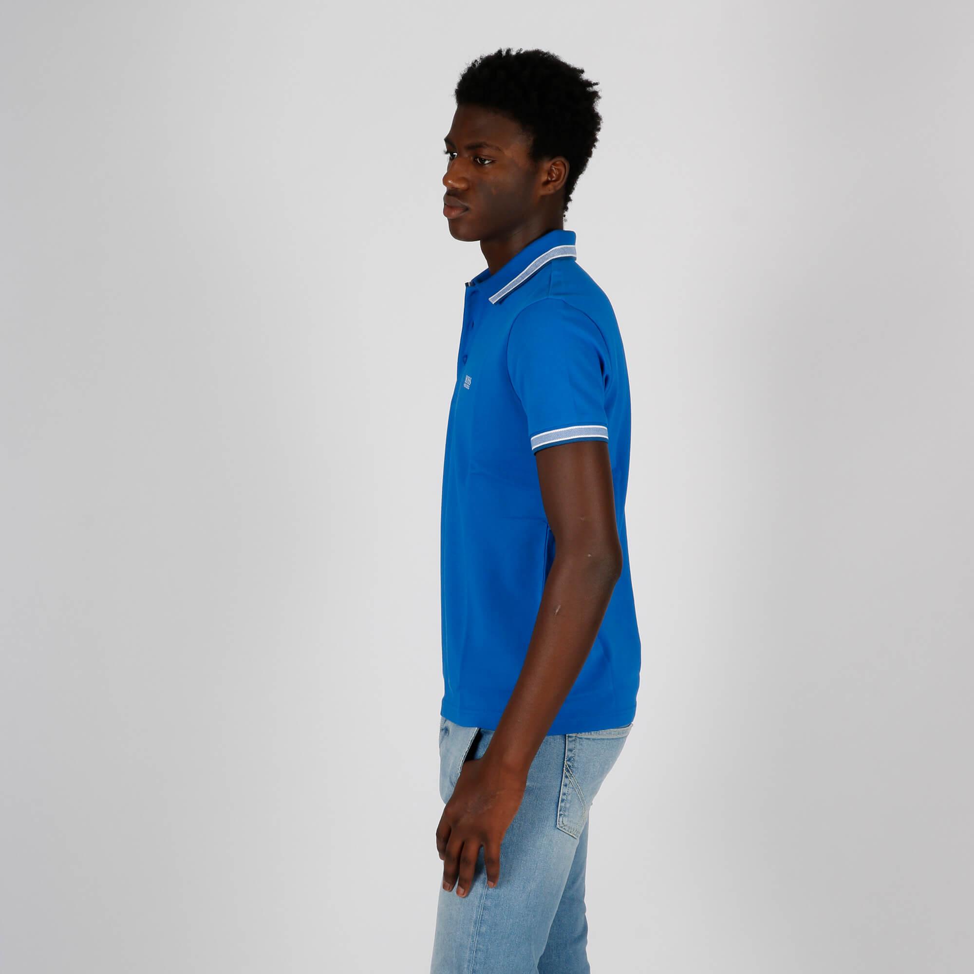 Polo piquet riga colletto - Blu chiaro