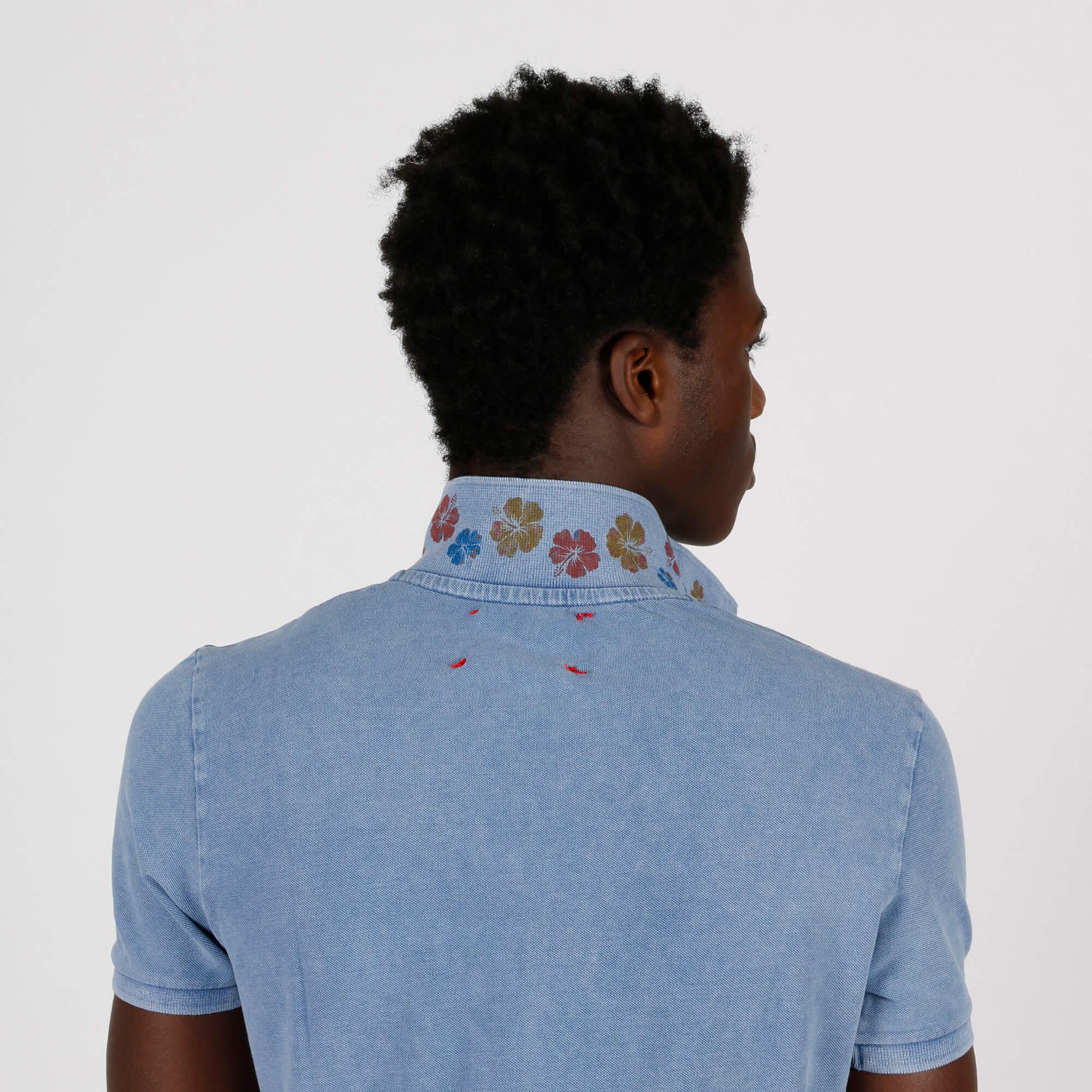 Polo stampa colletto - Blu royal