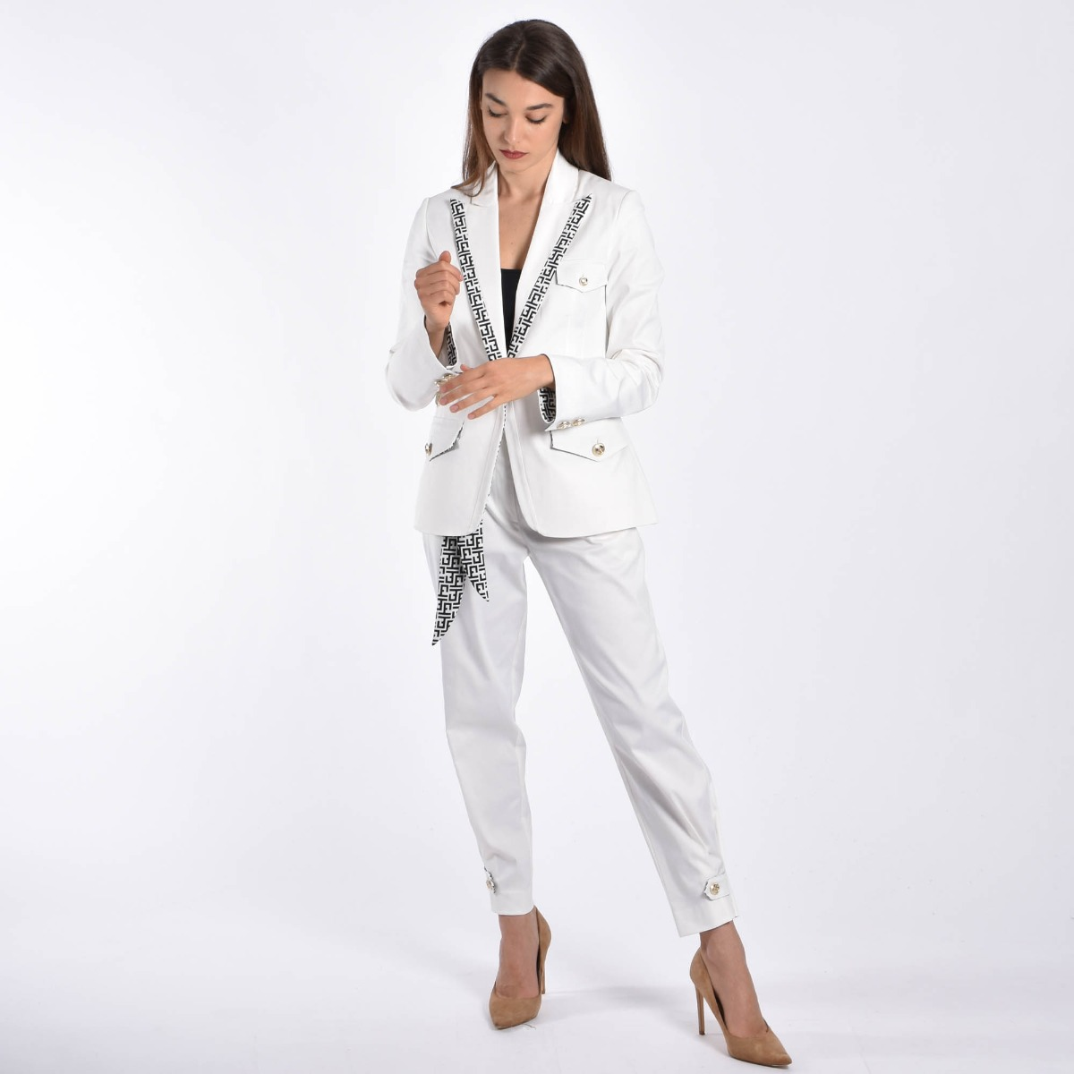 Pantalone con foulard- Bianco