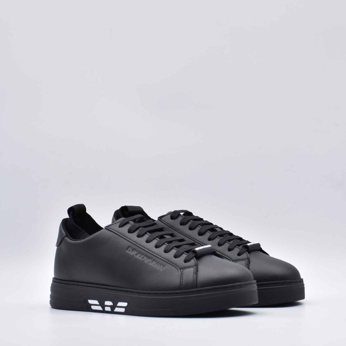 Sneaker con inserto maglia - Nero