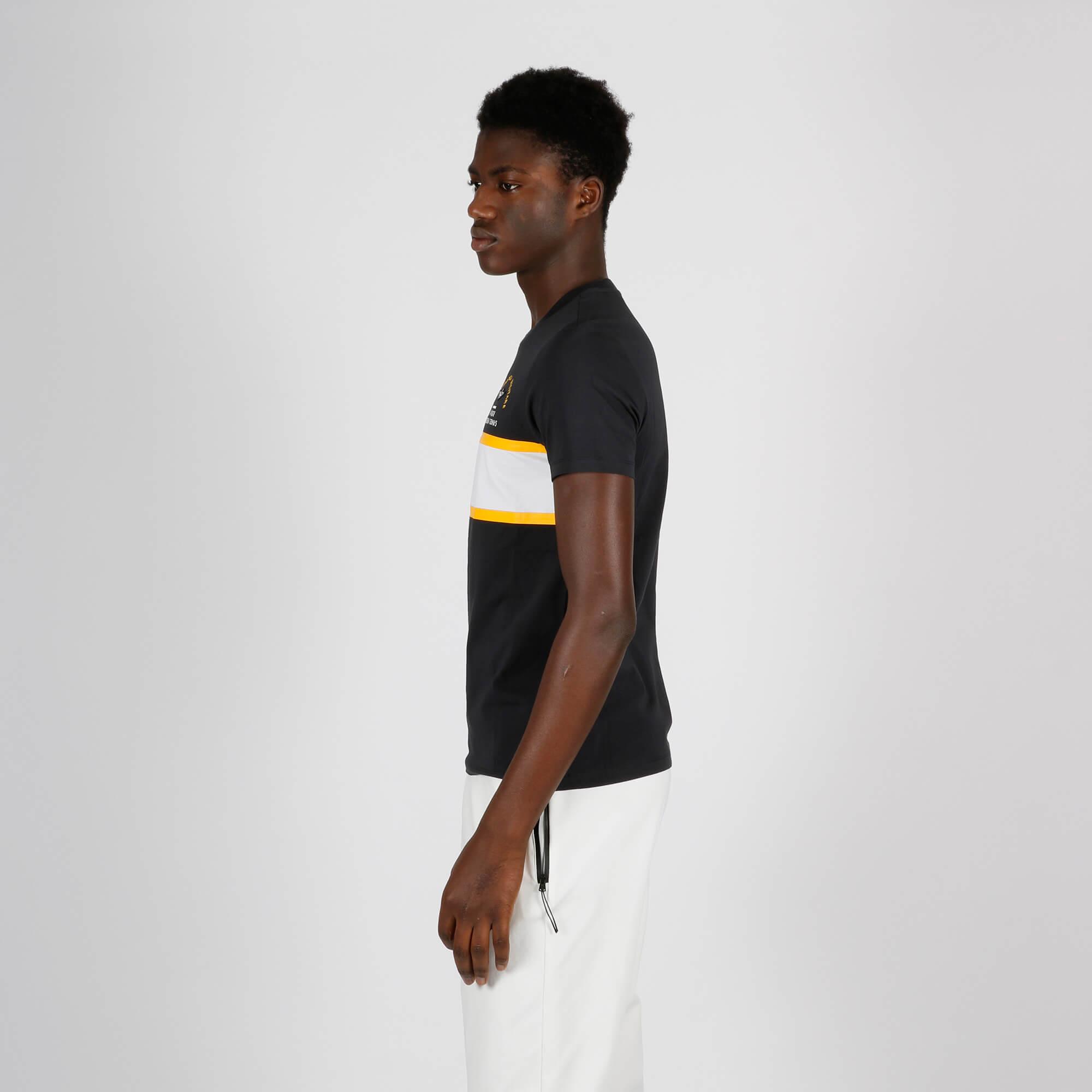 T-shirt striscia gialla - Blu