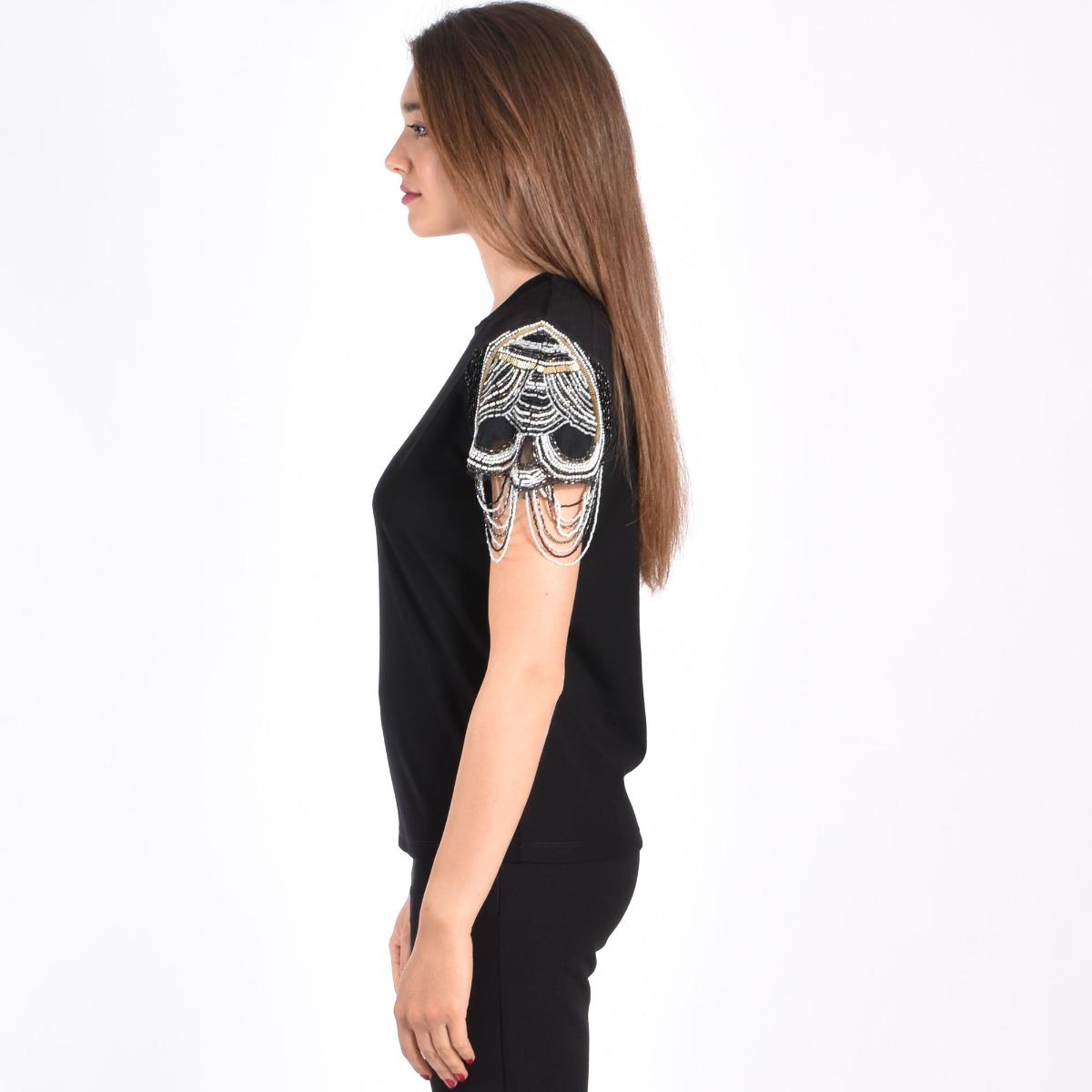 T-shirt con perline- Nero