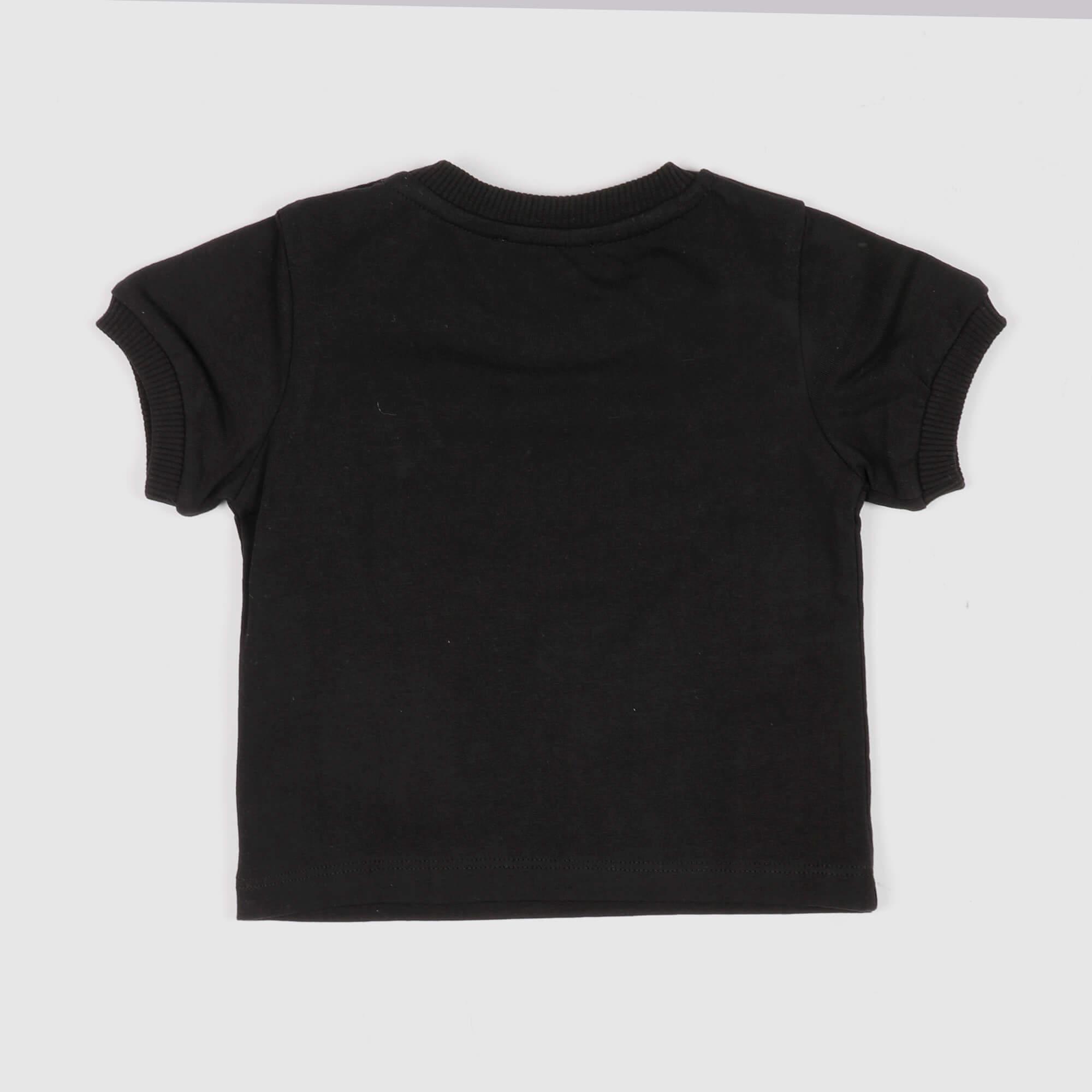 T-shirt baby logo strass- Nero