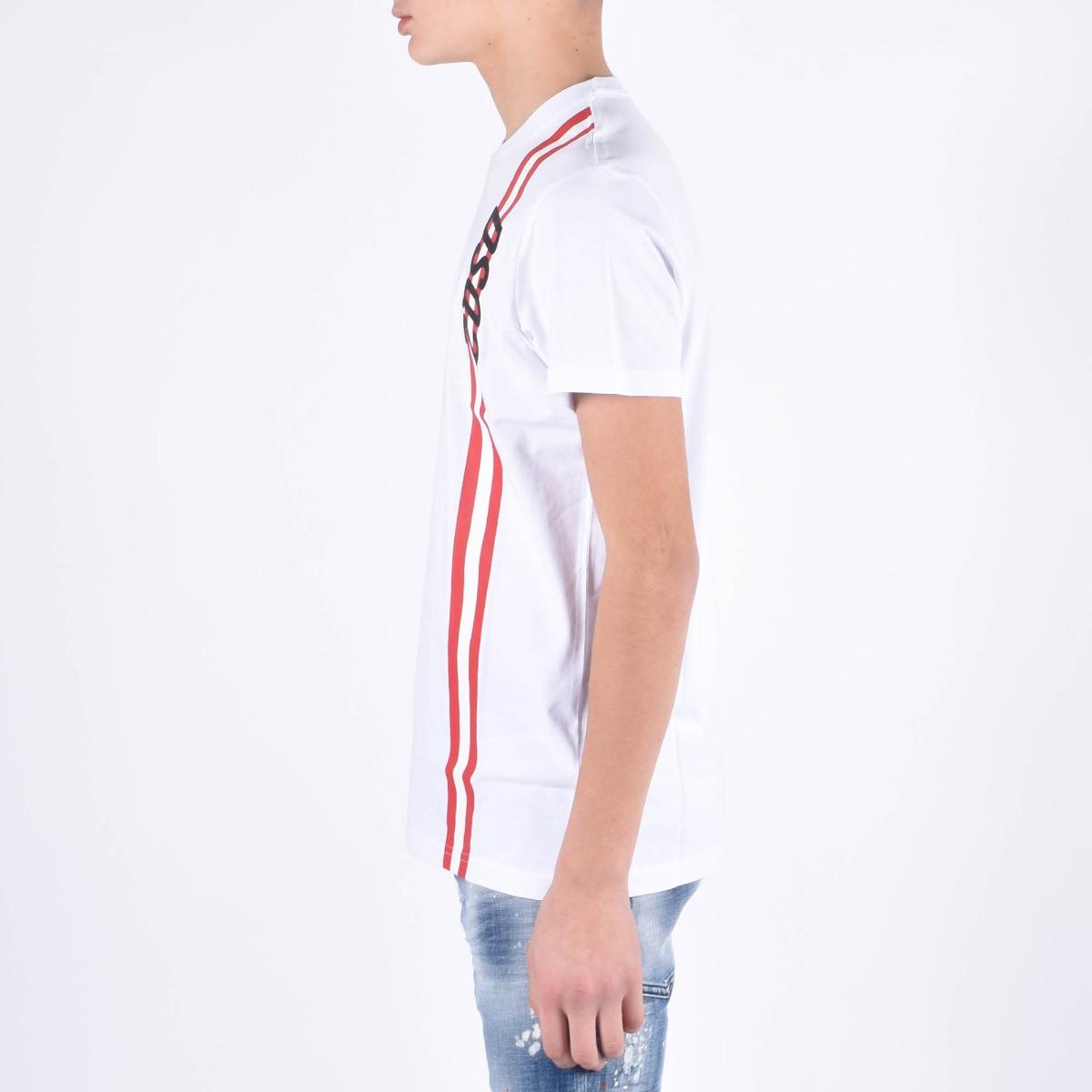 T-shirt con banda- Bianco