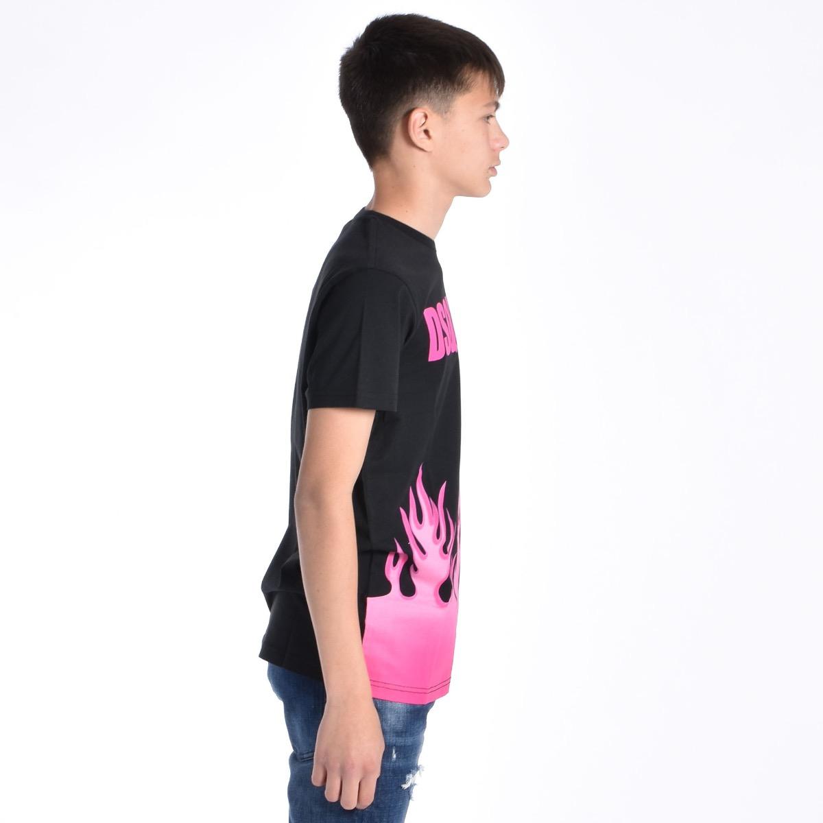 T-shirt con fiamme - Fucsia
