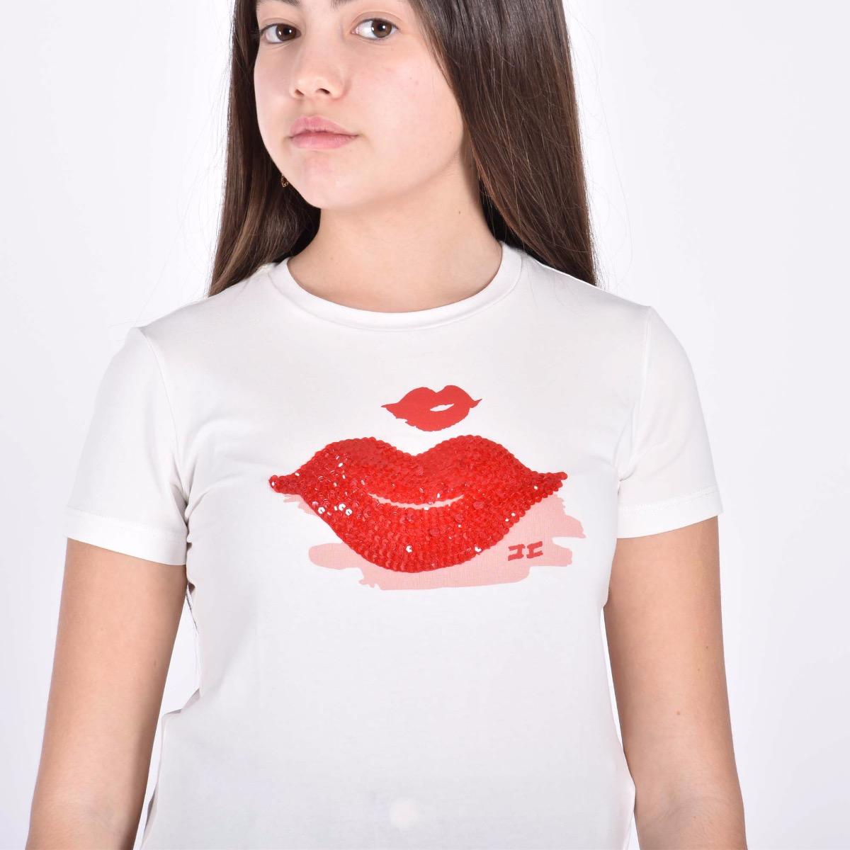 T-shirt con paillettes - Avorio