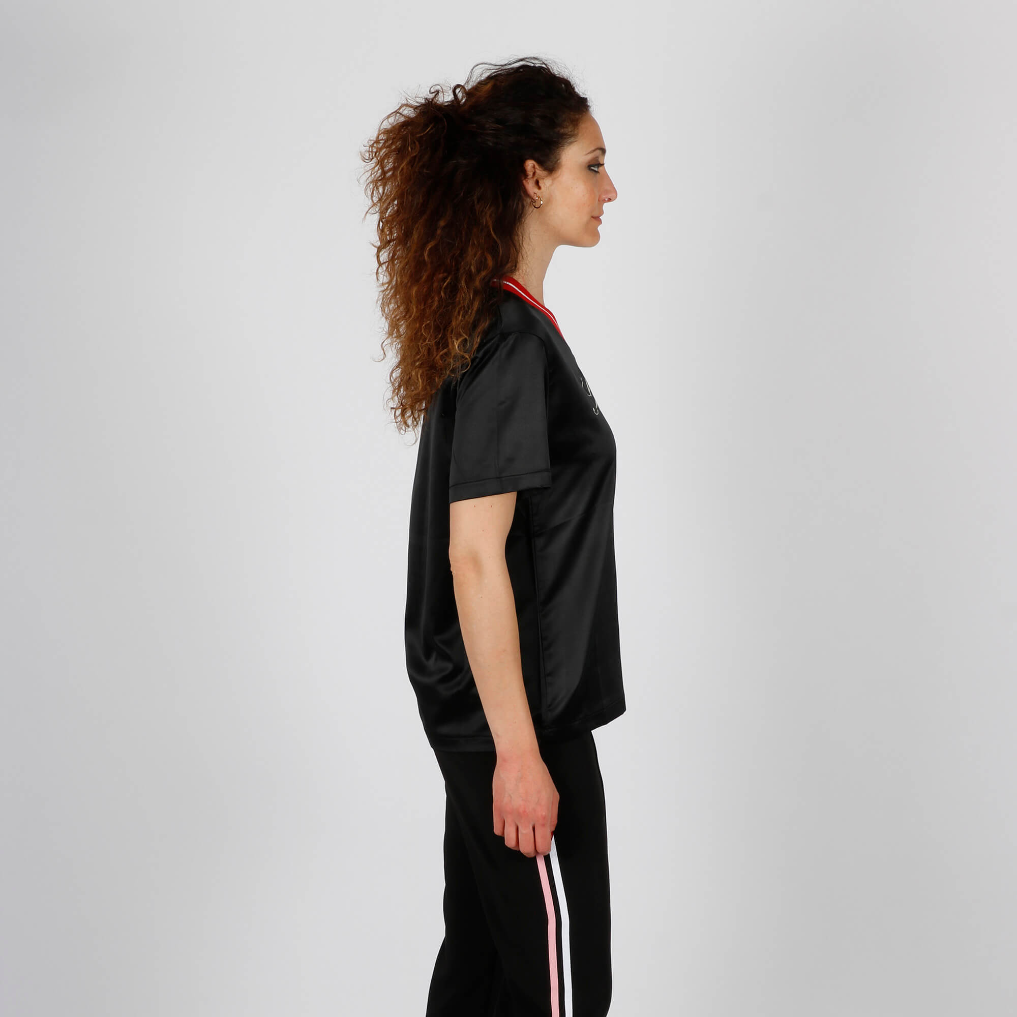 T-shirt effetto lucido con logo - Nero