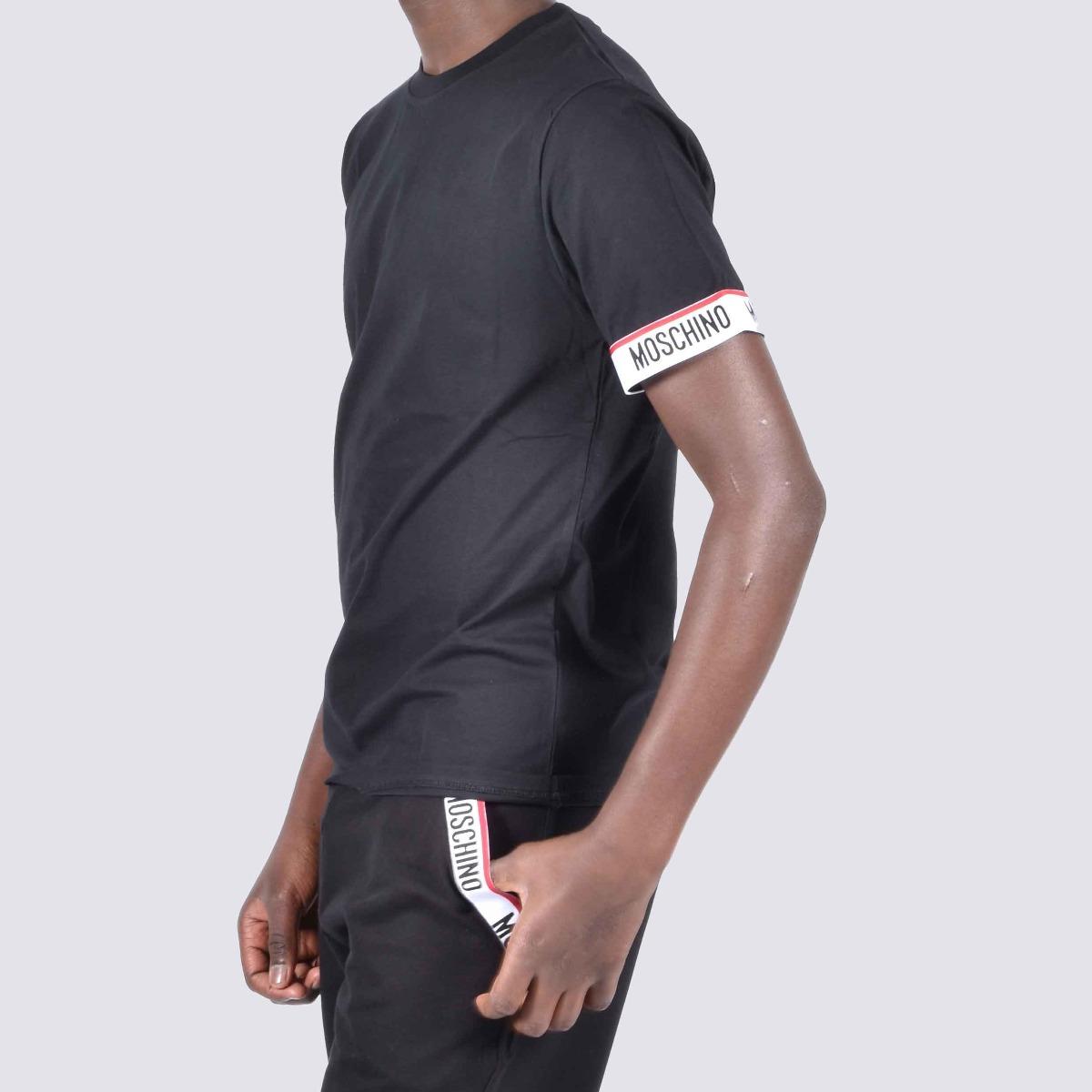 T-shirt fascia logo manica- Nero