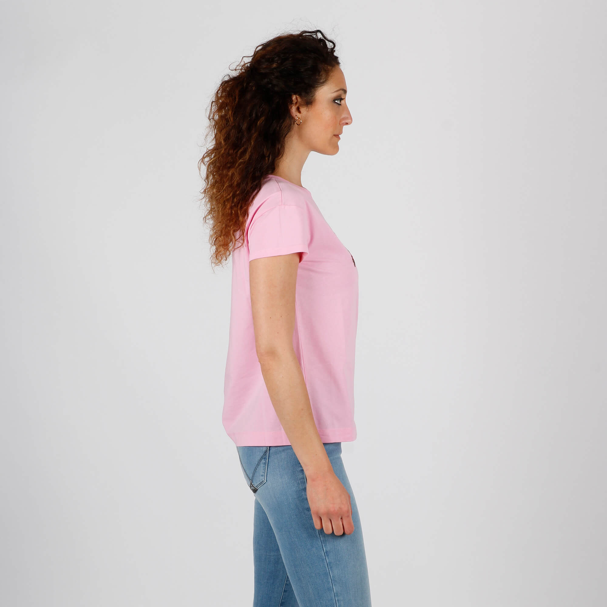T-shirt stampa gelato gattino - Rosa