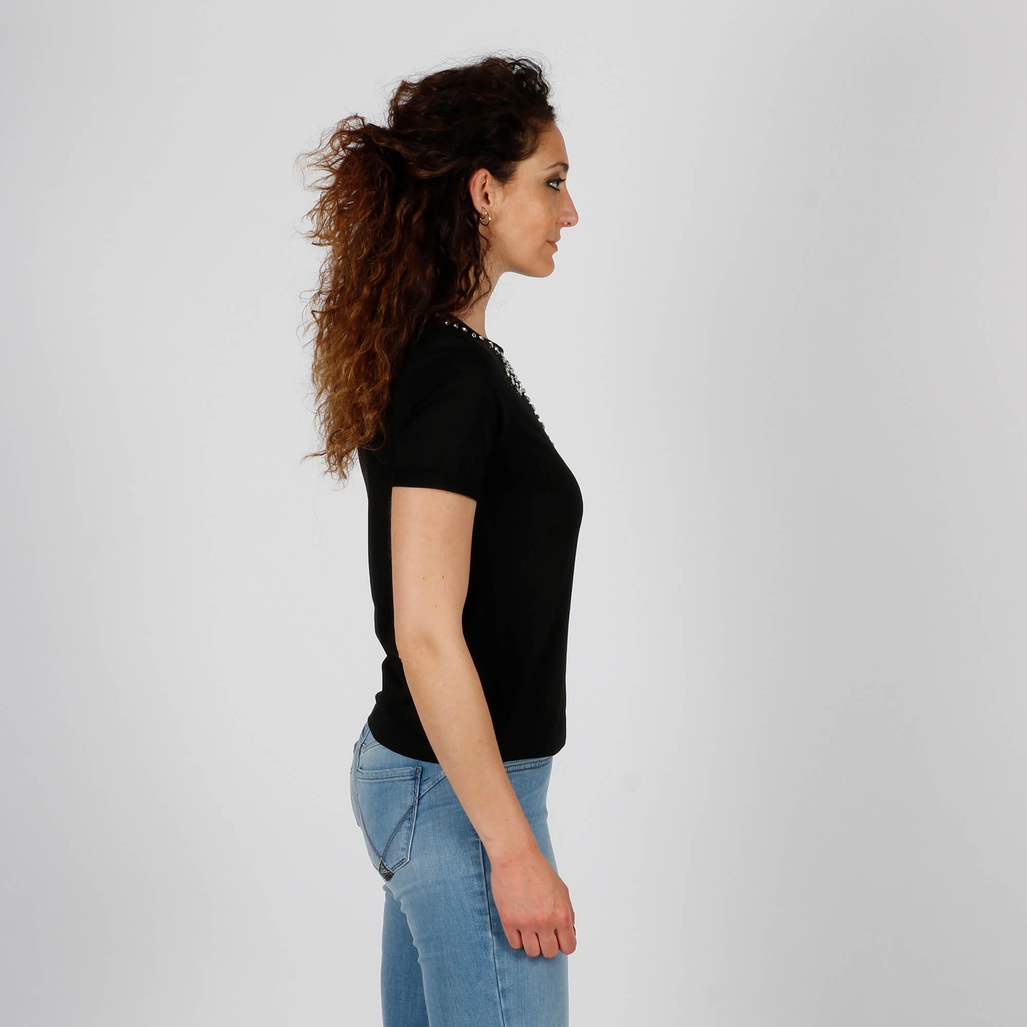 T-shirt intarsi e brillanti - Nero