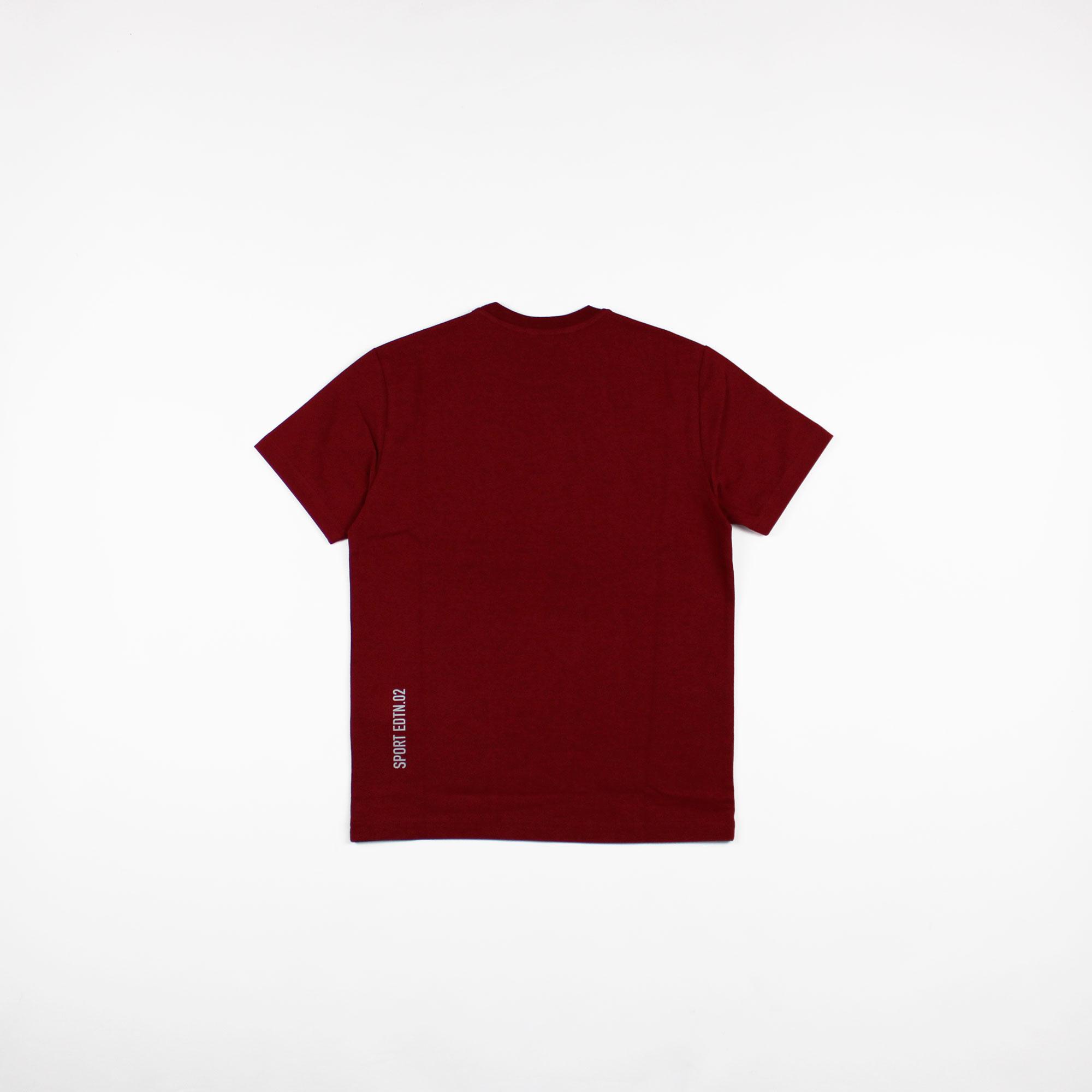 T-shirt logo foglia d'acero - Bordeaux