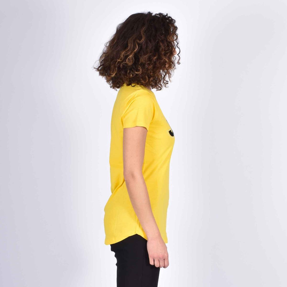 T-shirt logo e borchie- Giallo