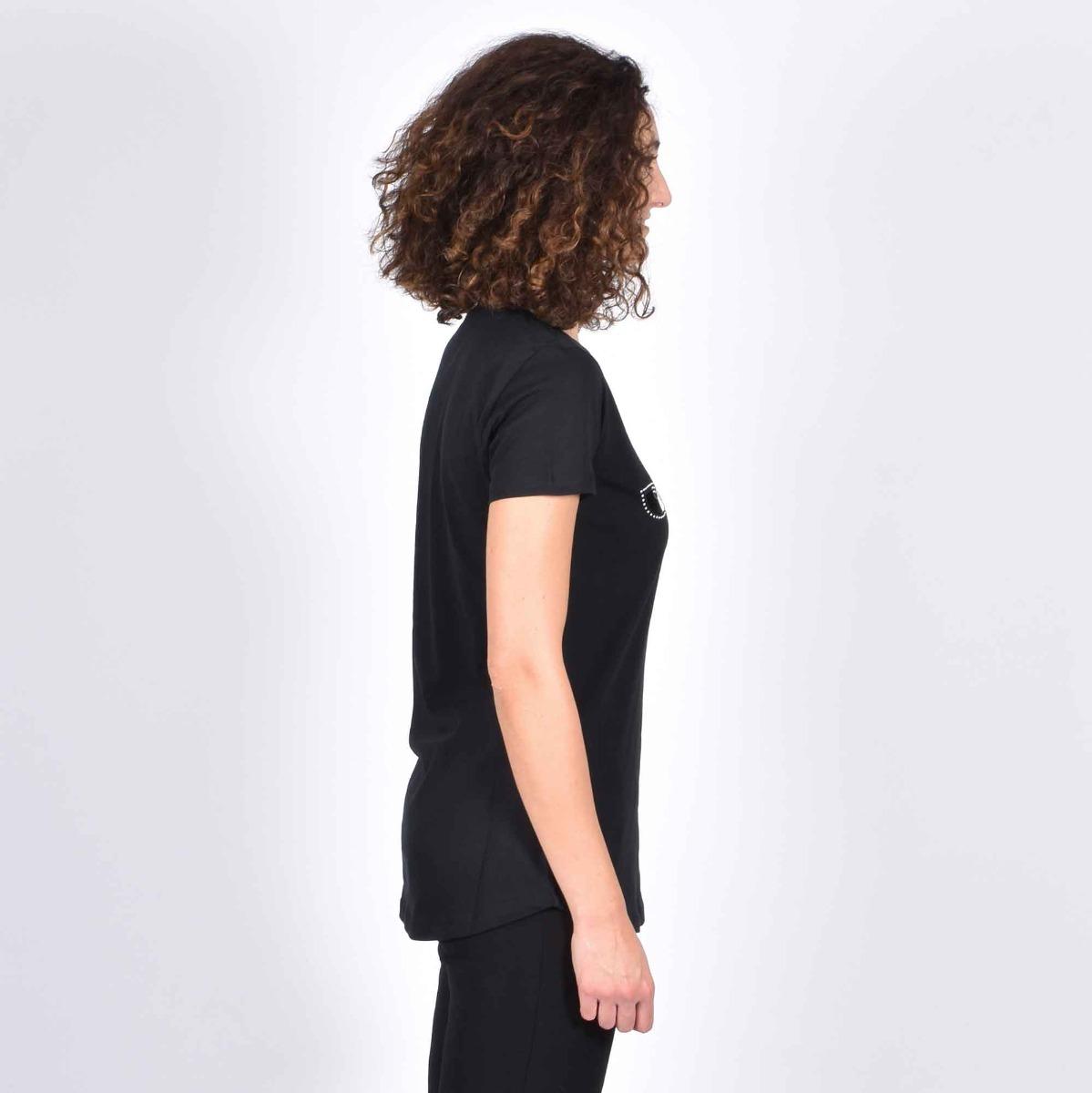 T-shirt stampa logo e borchie- Nero