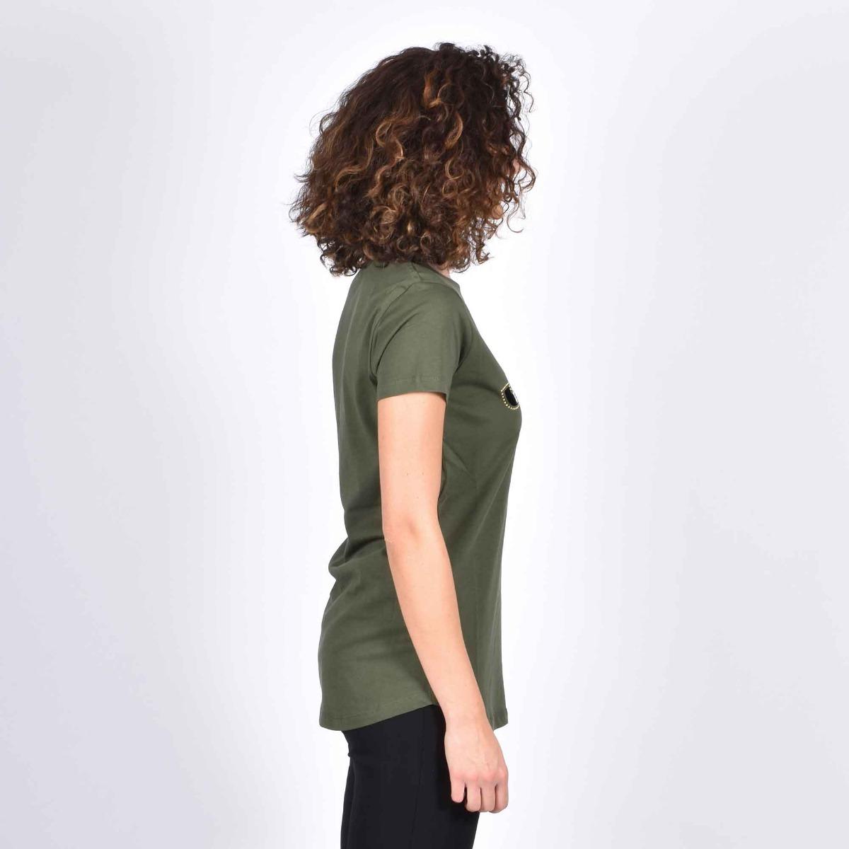 T-shirt logo e borchie- Verde