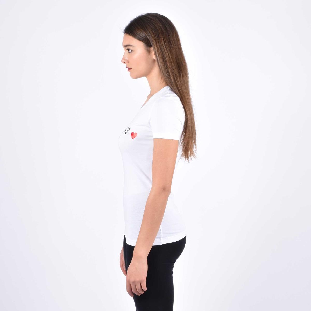 T-shirt stampa logo e cuore- Bianco
