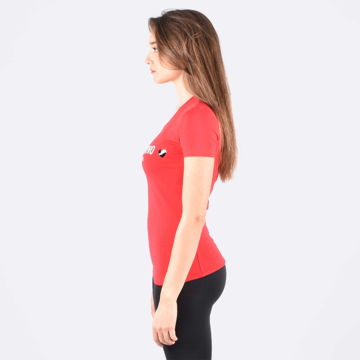 T-shirt stampa logo e cuore - Rosso