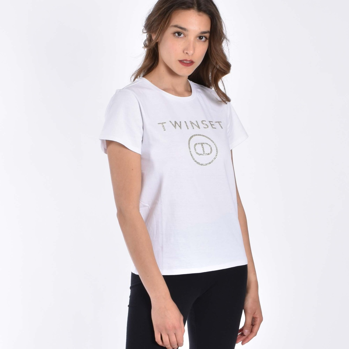 T-shirt  logo glitter- Bianco