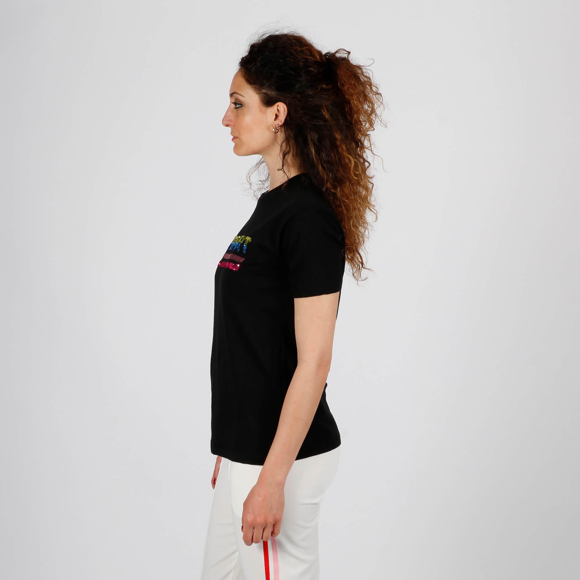 T-shirt logo paillettes - Nero