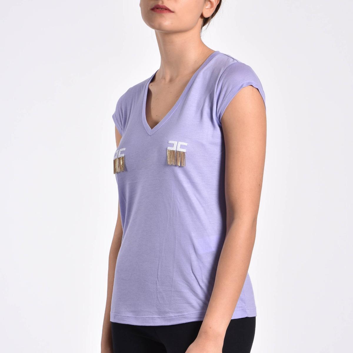 T-shirt logo con pendenti- Lavanda